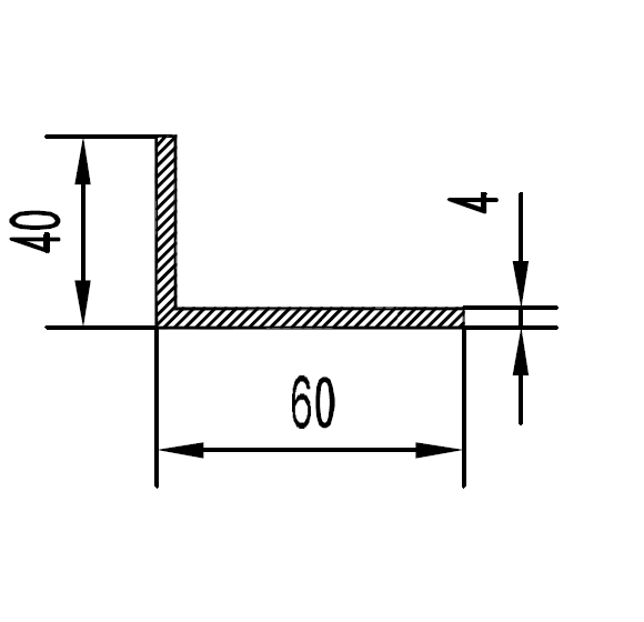 Уголок алюминиевый 60х40х4 / б.п.