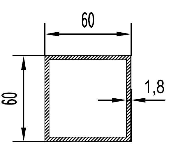 Труба алюминиевая квадратная 60х60х1.8 / б.п.