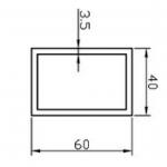 Труба прямоугольная алюминиевая 60х40х3.5 / AS