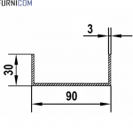 Швеллер алюминиевый 90х30х3 / AS