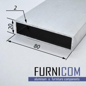 Труба алюминиевая прямоугольная 80х20х2 / б.п.
