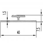 Двутавр алюминиевый 40х7.5х1.5 / AS