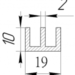 Ш-профиль алюминиевый 19х10х2 / AS