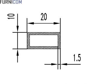 Труба алюминиевая прямоугольная 20х10х1.5 / б.п.