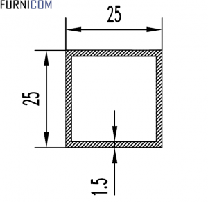 Труба алюминиевая квадратная 25х25х1.5 / б.п.