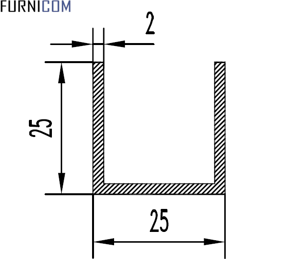 Швеллер алюминиевый 25х25х2 / б.п.