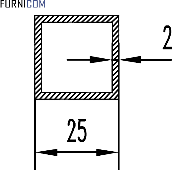Труба алюминиевая квадратная 25х25х2 / AS