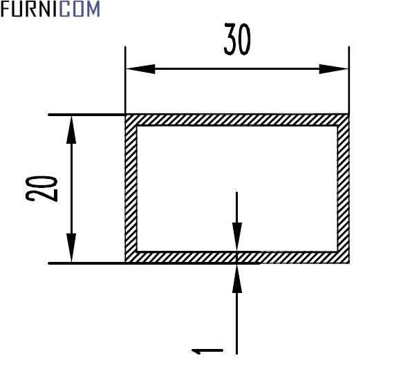 Труба прямоугольная 30х20х1 / б.п.