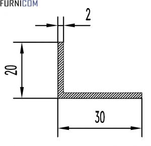 Уголок алюминиевый 30х20х2 / AS
