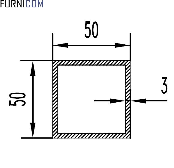 Труба алюминиевая квадратная 50х50х3 / AS