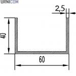 Швеллер алюминиевый 60х40х2.5 / AS