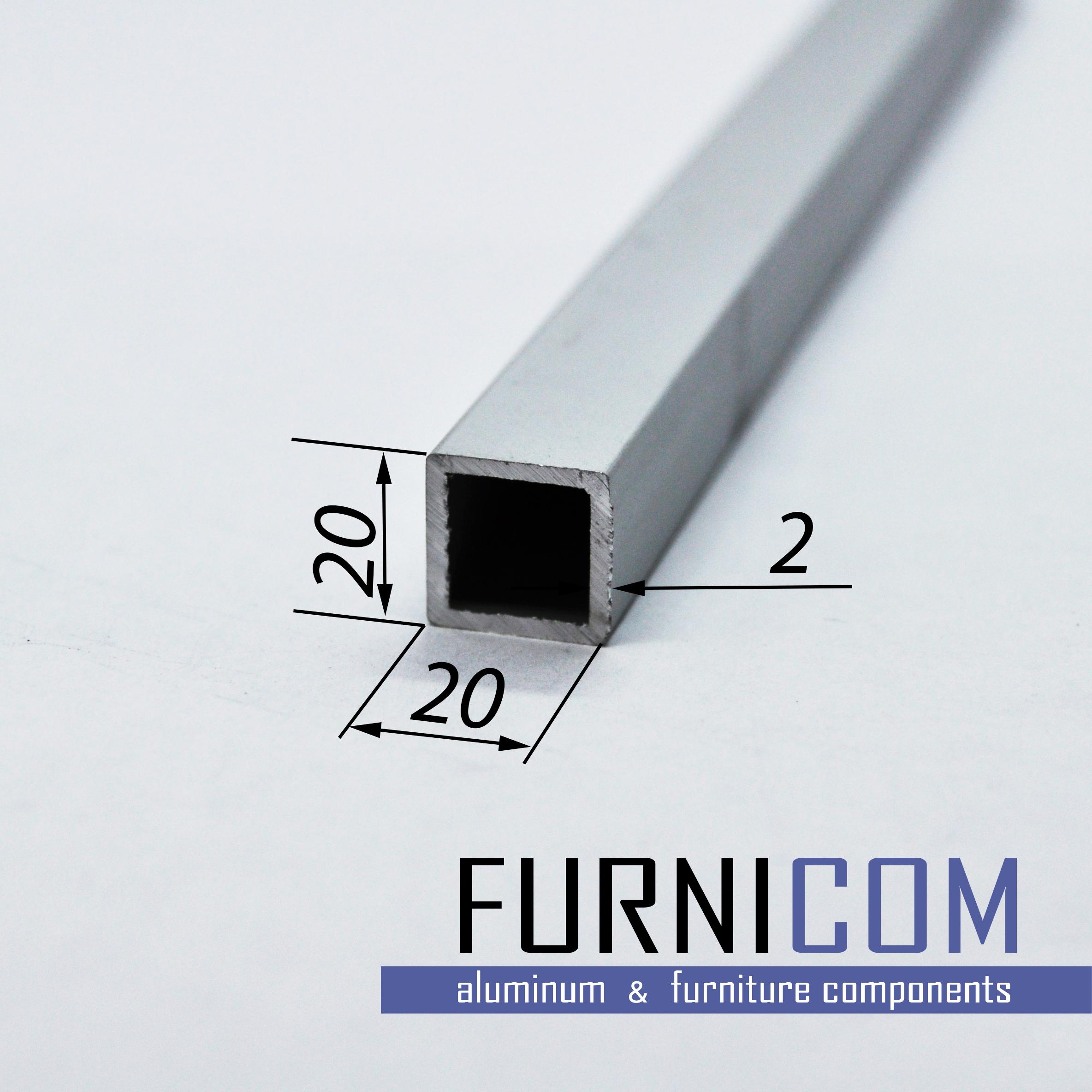 Труба алюминиевая квадратная 20х20х2 / AS