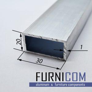 Труба алюминиевая прямоугольная 30х20х1 / б.п.