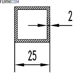 Труба алюминиевая квадратная 25х25х2 / б.п.