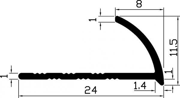 Уголок для плитки 24х11,5 / AS