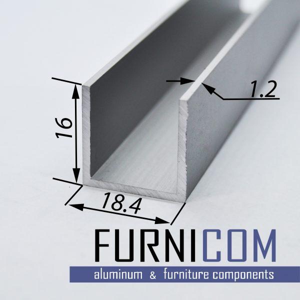 Швеллер алюминиевый 18.4х16х1.2 / AS