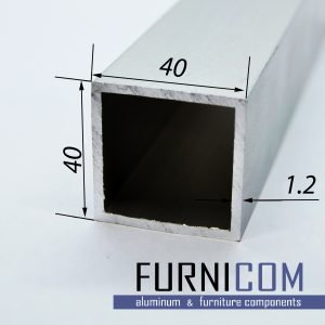Труба алюминиевая квадратная 40х40х1.2 / б.п