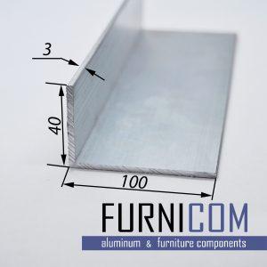 Уголок алюминиевый 100х40х3 / б.п.